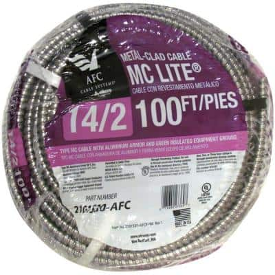 14/2 x 100 ft. Solid MC Lite Cable