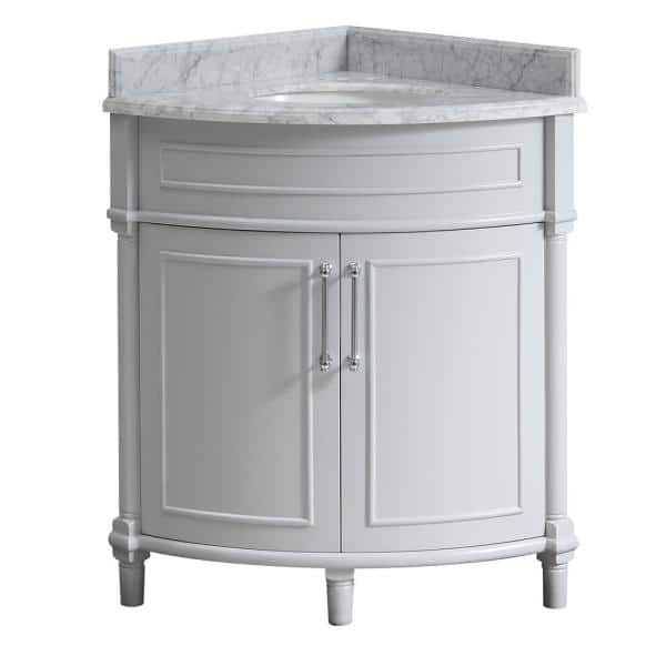 Home Decorators Collection Aberdeen 32 In W X 23 In D Corner Vanity In Grey With Carrara Marble Top With White Sinks Aberdeen 32g The Home Depot