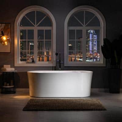 Diana 67 in. Acrylic FlatBottom Double Ended Air Bath Bathtub with Polished Chrome Overflow and Drain Included in White