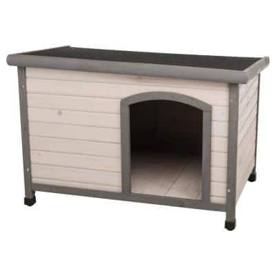 Natura Flat Roof Club Dog House in Gray - Medium to Large