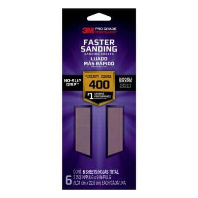 Pro Grade Precision Faster Sanding Sanding Sheets, 3 2/3 in. x 9 in., 400 grit, X-Fine, 6/pk