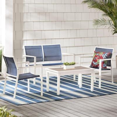 Harmony Cove 4-Piece Steel Blue Sling Outdoor Patio Deep Seating Set