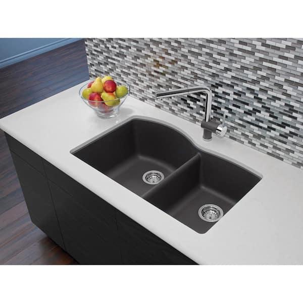 Blanco Diamond Undermount Granite Composite 32 In 60 40 Double Bowl Kitchen Sink Cinder 441469 The Home Depot