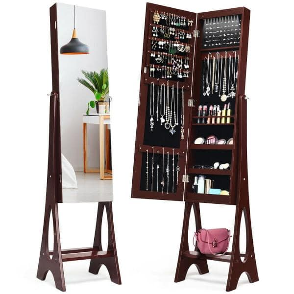 Costway Led Jewelry Cabinet Armoire With Bevel Edge Mirror Organizer Mirrored Standing New Hw58536cf The Home Depot