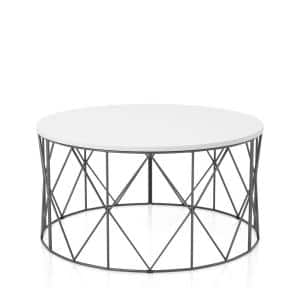 Mannis 35.38 in. White and Black Round Wood Top Coffee Table