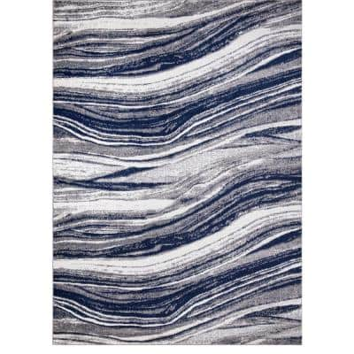 Jefferson Collection Marble Stripes Navy 8 ft. x 10 ft. Area Rug