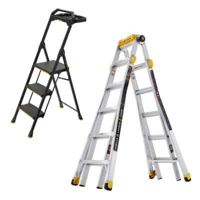 23 ft. Reach MPXT Aluminum Multi-Position Ladder with Project Top/3-Step Pro-Grade Steel Project Ladder (Combo-Pack)
