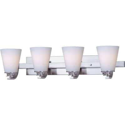 Conical 4-Light Satin Nickel Bath Vanity Light