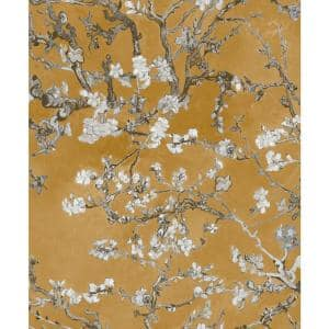 Almond Blossom Bold Yellow Floral Paper Strippable Wallpaper Roll (Covers 57 Sq. Ft.)