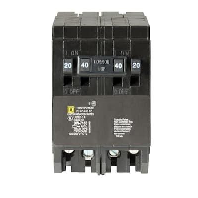 Homeline (2) 20 Amp Single-Pole (1) 40 Amp 2-Pole Quad Tandem Circuit Breaker