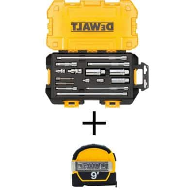 1/4 in. and 3/8 in. Drive Tool Accessory Set with Case (15-Piece) with 9 ft. x 1/2 in. Pocket Tape Measure
