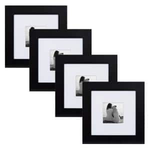 Museum 8 in. x 8 in. Matted to 4 in. x 4 in. Black Picture Frame (Set of 4)