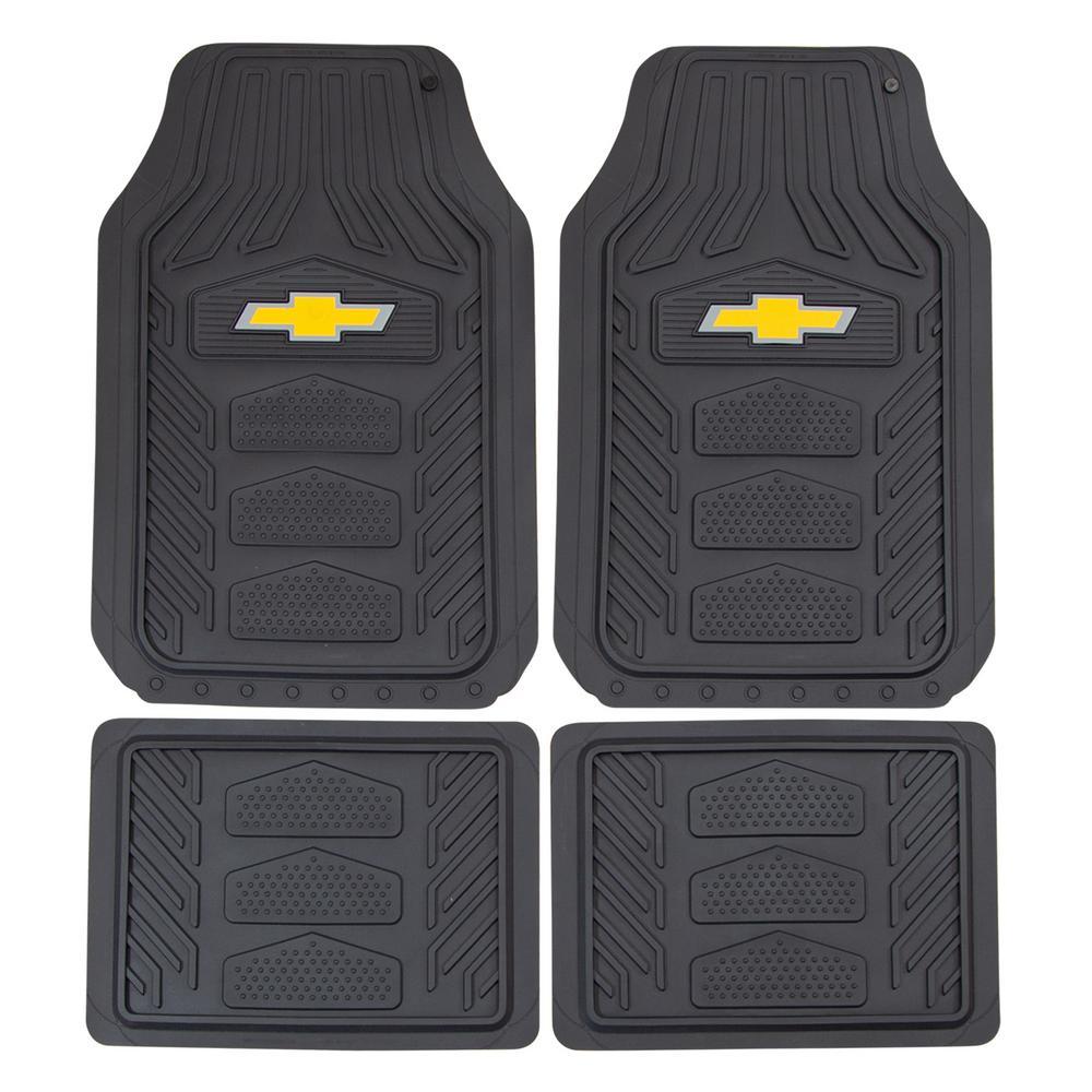 Chevrolet WeatherPro 27 in. x 17.5 in. Ultra-Durable Rubber Utility Black/Yellow Floor Mat (4-Piece Set)