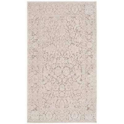 Reflection Beige/Cream 3 ft. x 5 ft. Floral Distressed Area Rug