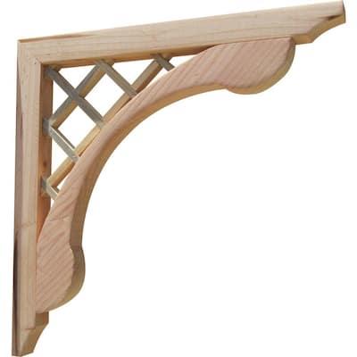 Cross Halved Lattice 16 in. x 1.6 in. x 16 in. Designer Wood Corbel (2-Pack)