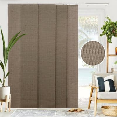 Woven Cut-to-Size Truffle Light Filtering Adjustable Sliding Panel Track Blind w/ 23 in Slats Up to 86 in. W X 96 in. L