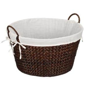 Round Banana Leaf Stained Laundry Basket