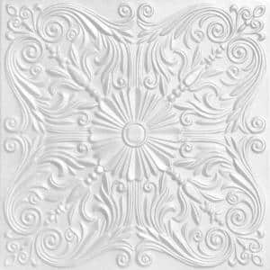Spanish Silver 1.6 ft. x 1.6 ft. Glue Up Foam Ceiling Tile in Plain White (21.6 sq. ft./case)
