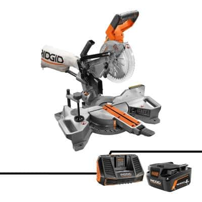 18V Brushless 7-1/4 in. Dual Bevel Sliding Miter Saw with 18V Lithium-Ion MAX Output 4.0 Ah Battery and Charger