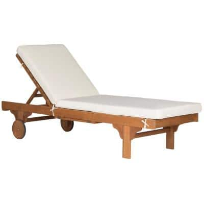Newport Natural Brown 1-Piece Wood Outdoor Chaise Lounge Chair with Beige Cushion