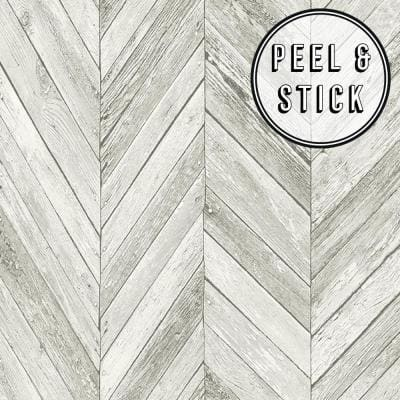 Herringbone Wood Light Grey Vinyl Peelable Roll (Covers 30.75 sq. ft.)
