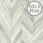 Herringbone Wood Light Grey Vinyl Peelable Roll (Covers 30.75 sq. ft.)
