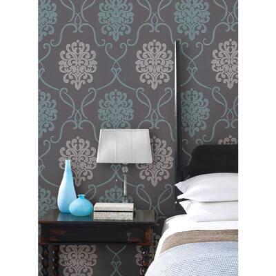 Suzette Aqua Modern Damask Paper Strippable Roll Wallpaper (Covers 56 sq. ft.)