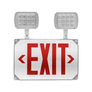 ECL5 Series 25-Watt Equivalent Integrated LED Outdoor White Exit Sign with Adjustable Light Heads, Red Lettering