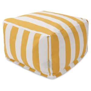 Yellow Vertical Stripe Indoor/Outdoor Ottoman Cushion