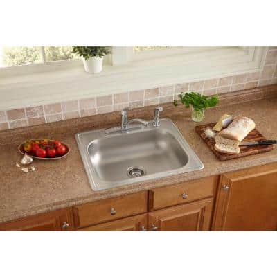 All-in-One Drop-In Stainless Steel 25 in. 4-Hole Single Bowl Kitchen Sink