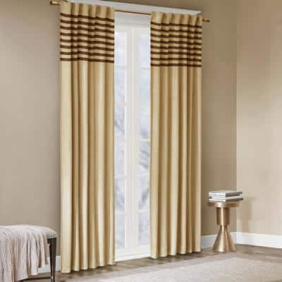 Dune Beige 2-Piece Light Filtering Window Curtain Pair 42 in. W x 63 in. L