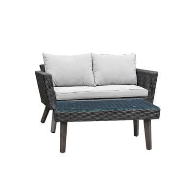 Kotka 2-Piece Wicker Outdoor Patio Sofa and Table Seating Set with Light Grey Cushions