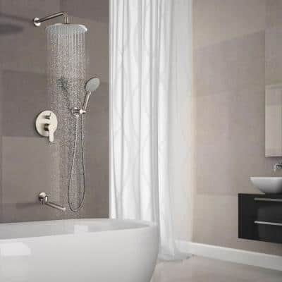 Single-Handle 3-Spray Tub and Shower Faucet with 2.5 GPM 10 in. 3 Functions in Brushed Nickel (Valve Included)