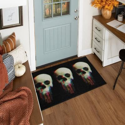 Digital Skulls Black 2 ft. 6 in. x 4 ft. 2 in. Holiday Area Rug