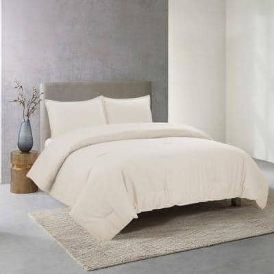 Perfectly Cotton 3-Piece Ivory Solid Cotton Full/Queen Comforter Set