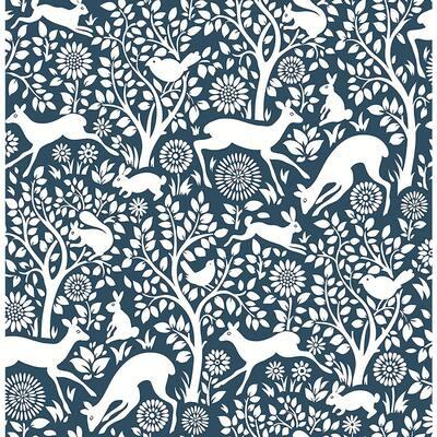 Meadow Navy Animals Navy Wallpaper Sample