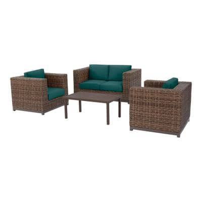 Fernlake 4-Piece Taupe Wicker Outdoor Patio Deep Seating Set with CushionGuard Malachite Green Cushions