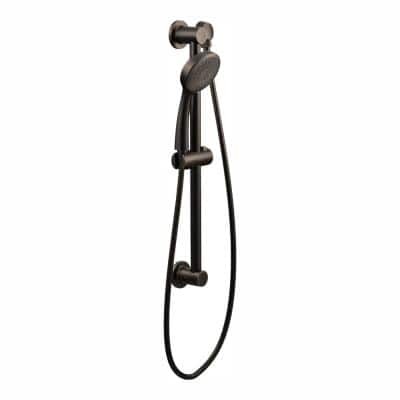 1-Spray Eco-Performance 4 in. Hand Shower with Slide Bar in Oil Rubbed Bronze