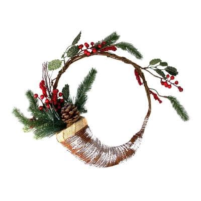 14 in. Unlit Lightly Frosted Cornucopia Artificial Christmas Wreath with Berries and Pine Cones