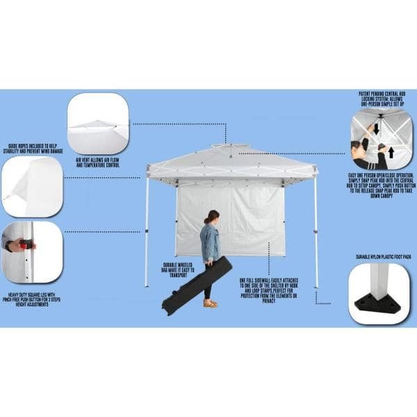 Everbilt 10 Ft X 10 Ft Commercial Instant Canopy Pop Up Tent With Wall Panel White Ns Hpp100 The Home Depot