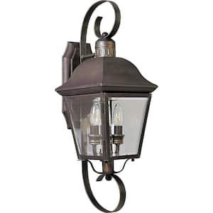 Andover Collection 2-Light Antique Bronze Clear Beveled Glass Farmhouse Outdoor Medium Wall Lantern Light