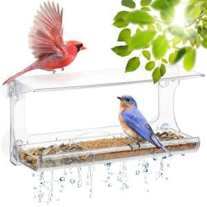 Weatherproof Window Bird Feeder with Strong Suction Cups, Drainage Holes, and 3-Sectioned Removable Tray