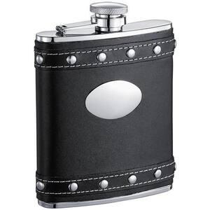 Rocker Black Leather Liquor Flask With Studs