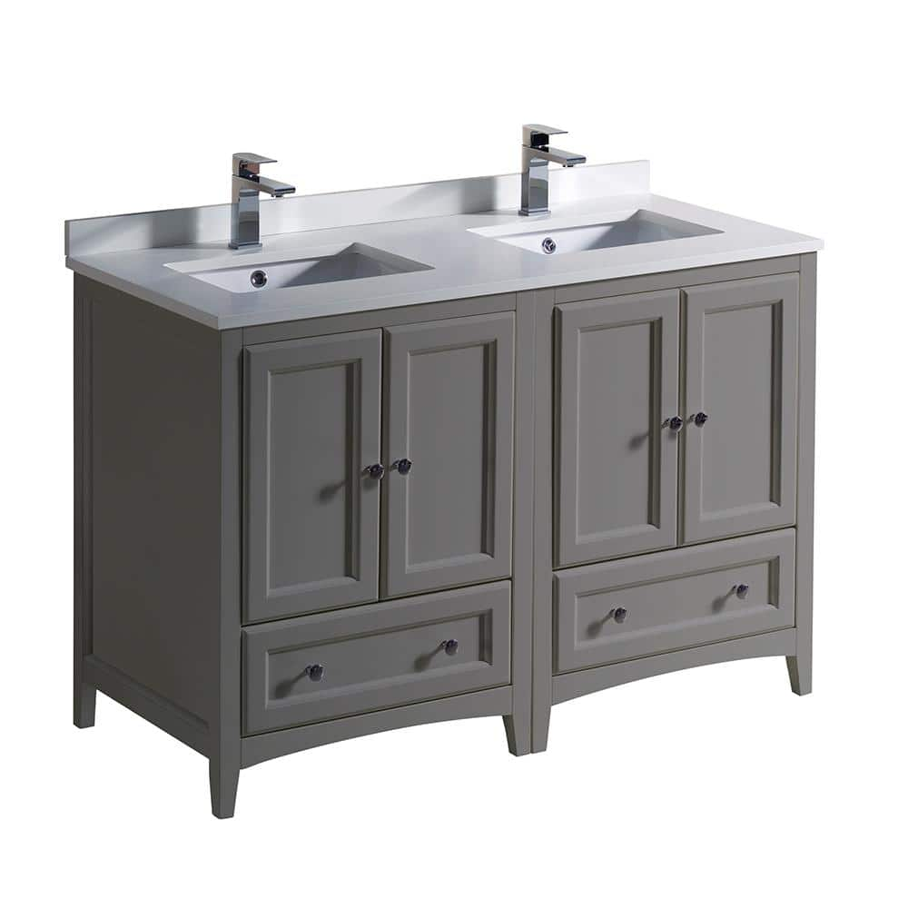 Fresca Oxford 20 in. Traditional Double Bath Vanity in Gray with Quartz  Stone Vanity Top in White with White Basins FCB20 20GR CWH U   The Home  ...