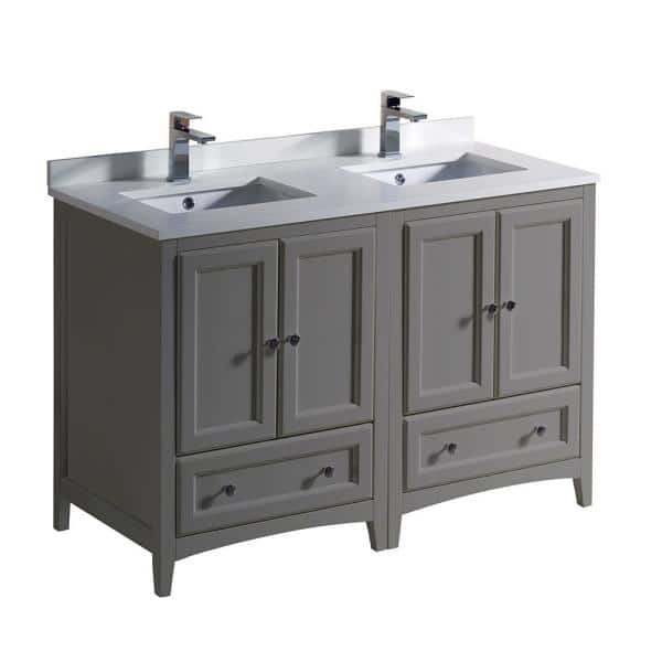 Fresca Oxford 48 In Traditional Double Bath Vanity In Gray With Quartz Stone Vanity Top In White With White Basins Fcb20 2424gr Cwh U The Home Depot