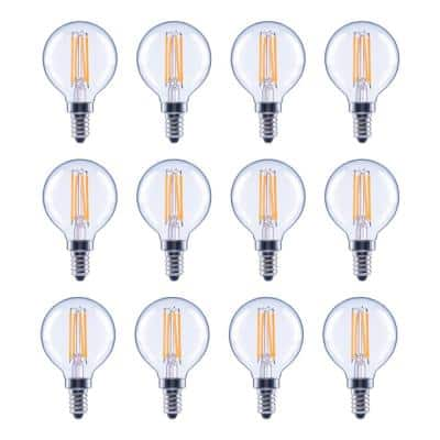 60-Watt Equivalent G16.5 Globe Dimmable Clear Glass Filament Vintage LED Light Bulb Daylight (12-Pack)