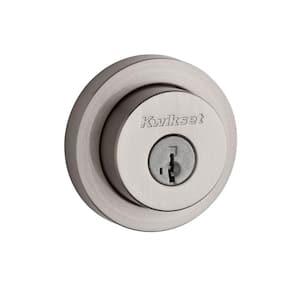 158 Satin Nickel Round Contemporary Single Cylinder Deadbolt featuring SmartKey Security