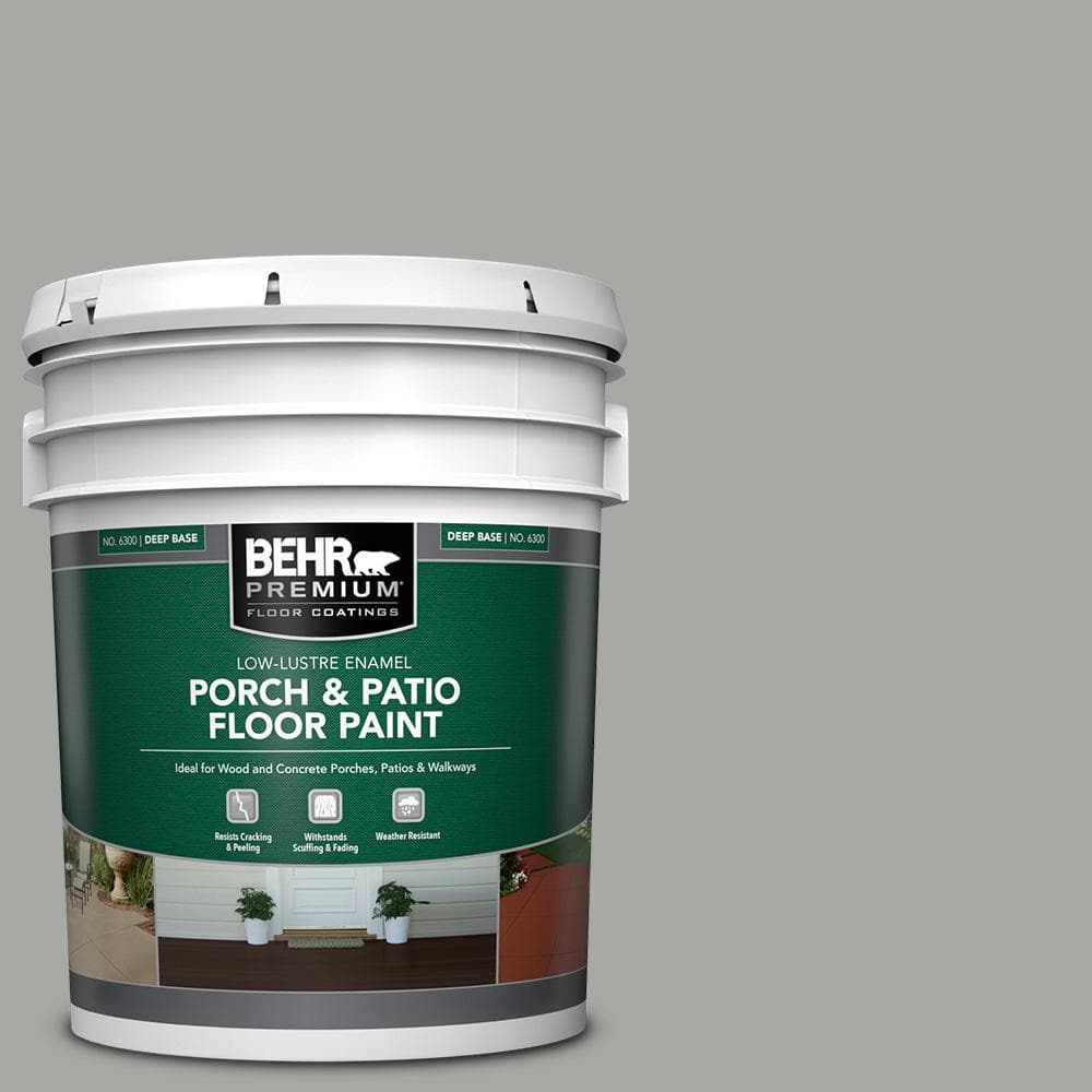 Behr Premium 5 Gal Pfc 68 Silver Gray Low Lustre Enamel Interior Exterior Porch And Patio Floor Paint 630005 The Home Depot