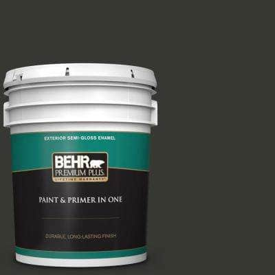 5 gal. #T13-3 Black Lacquer Semi-Gloss Enamel Exterior Paint and Primer in One