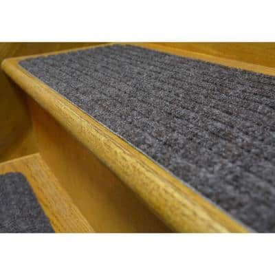 Stair Treads Collection Grey 8 Inch x 30 Inch Indoor Skid Slip Resistant Carpet Stair Treads Set of 13